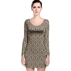Hexagon1 Black Marble & Sand Long Sleeve Velvet Bodycon Dress