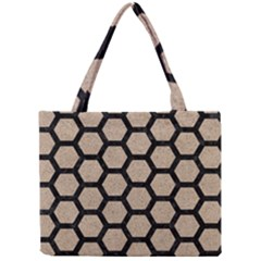 Hexagon2 Black Marble & Sand Mini Tote Bag