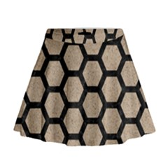 Hexagon2 Black Marble & Sand Mini Flare Skirt