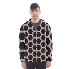 Hexagon2 Black Marble & Sand (r) Hooded Wind Breaker (men)