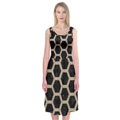 Hexagon2 Black Marble & Sand (r) Midi Sleeveless Dress