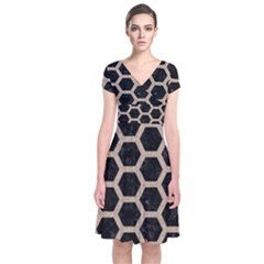 Hexagon2 Black Marble & Sand (r) Short Sleeve Front Wrap Dress