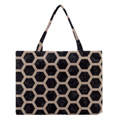 Hexagon2 Black Marble & Sand (r) Medium Tote Bag