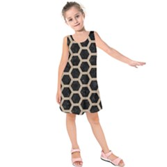 Hexagon2 Black Marble & Sand (r) Kids  Sleeveless Dress