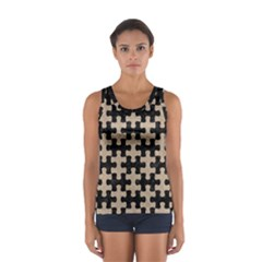 Puzzle1 Black Marble & Sand Sport Tank Top