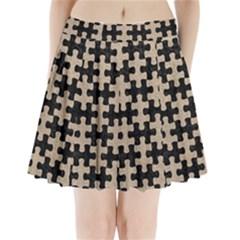 Puzzle1 Black Marble & Sand Pleated Mini Skirt