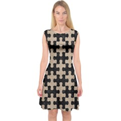 Puzzle1 Black Marble & Sand Capsleeve Midi Dress