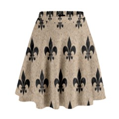 Royal1 Black Marble & Sand (r) High Waist Skirt