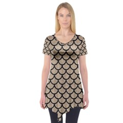 Scales1 Black Marble & Sand Short Sleeve Tunic