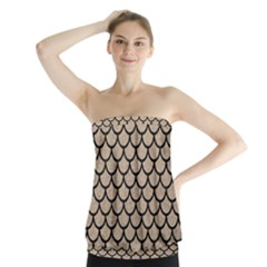 Scales1 Black Marble & Sand Strapless Top