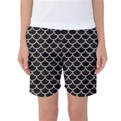 Scales1 Black Marble & Sand (r) Women s Basketball Shorts