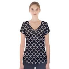 Scales1 Black Marble & Sand (r) Short Sleeve Front Detail Top
