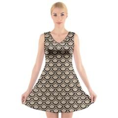 Scales2 Black Marble & Sand V Neck Sleeveless Skater Dress