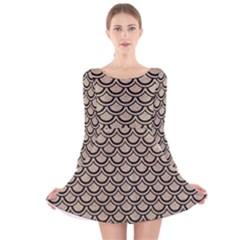 Scales2 Black Marble & Sand Long Sleeve Velvet Skater Dress