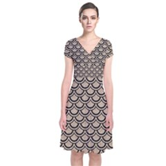 Scales2 Black Marble & Sand Short Sleeve Front Wrap Dress