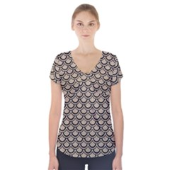 Scales2 Black Marble & Sand Short Sleeve Front Detail Top