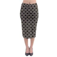 Scales2 Black Marble & Sand (r) Midi Pencil Skirt