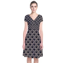 Scales2 Black Marble & Sand (r) Short Sleeve Front Wrap Dress