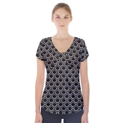 Scales2 Black Marble & Sand (r) Short Sleeve Front Detail Top