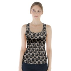 Scales2 Black Marble & Sand (r) Racer Back Sports Top