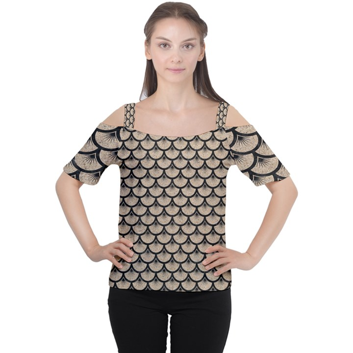 SCALES3 BLACK MARBLE & SAND Cutout Shoulder Tee
