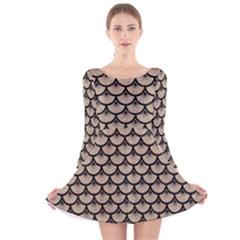 Scales3 Black Marble & Sand Long Sleeve Velvet Skater Dress