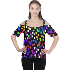 Colorful Rectangles On A Black Background                                 Women s Cutout Shoulder Tee