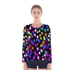 Colorful Rectangles On A Black Background                                 Women Long Sleeve T Shirt
