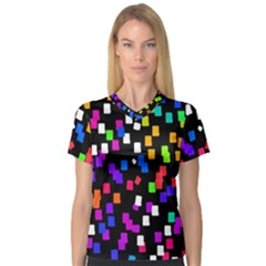 Colorful Rectangles On A Black Background                                 V Neck Sport Mesh Tee