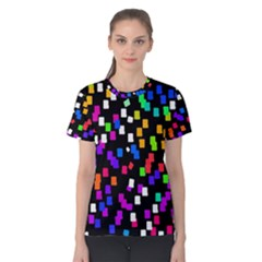 Colorful Rectangles On A Black Background                                 Women s Cotton Tee