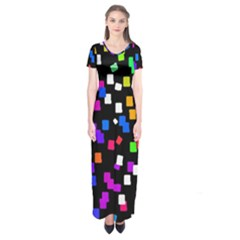 Colorful Rectangles On A Black Background                            Short Sleeve Maxi Dress