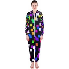 Colorful Rectangles On A Black Background                                 Hooded Jumpsuit (ladies)