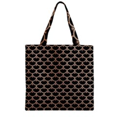 Scales3 Black Marble & Sand (r) Zipper Grocery Tote Bag