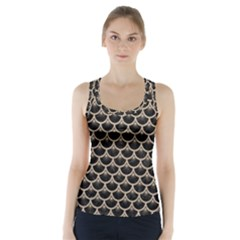Scales3 Black Marble & Sand (r) Racer Back Sports Top