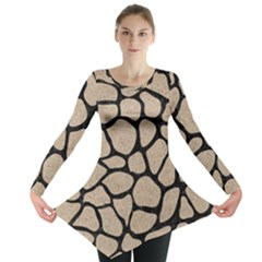 Skin1 Black Marble & Sand (r) Long Sleeve Tunic