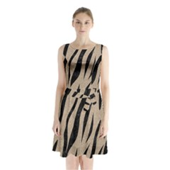 Skin3 Black Marble & Sand Sleeveless Waist Tie Chiffon Dress