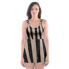 Skin4 Black Marble & Sand Skater Dress Swimsuit