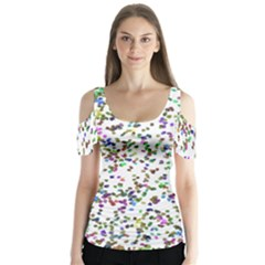 Paint On A White Background                                   Butterfly Sleeve Cutout Tee