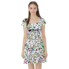 Paint On A White Background                                  Short Sleeve Skater Dress