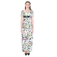 Paint On A White Background                             Short Sleeve Maxi Dress