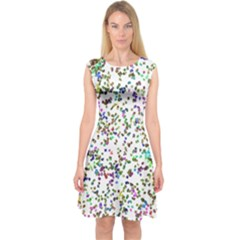Paint On A White Background                                  Capsleeve Midi Dress