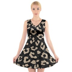 Skin5 Black Marble & Sand V Neck Sleeveless Skater Dress