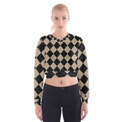 Square2 Black Marble & Sand Cropped Sweatshirt