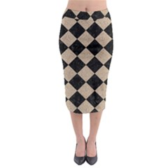 Square2 Black Marble & Sand Midi Pencil Skirt