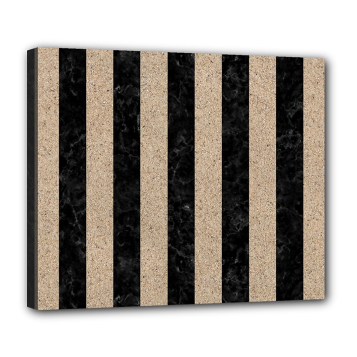 STRIPES1 BLACK MARBLE & SAND Deluxe Canvas 24  x 20