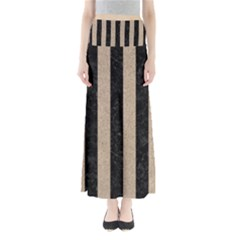 Stripes1 Black Marble & Sand Full Length Maxi Skirt