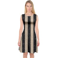 Stripes1 Black Marble & Sand Capsleeve Midi Dress