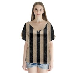 Stripes1 Black Marble & Sand V Neck Flutter Sleeve Top