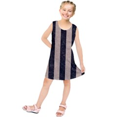 Stripes1 Black Marble & Sand Kids  Tunic Dress