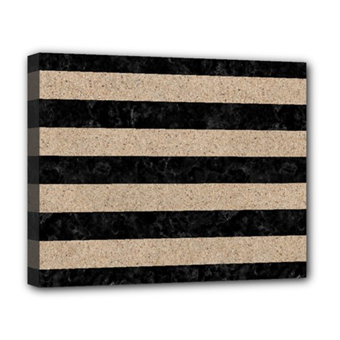 Stripes2 Black Marble & Sand Deluxe Canvas 20  X 16